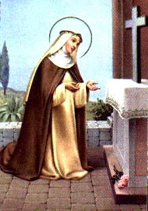 Imagen de Santa Rosa de Lima rezando a color
