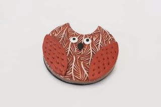 Copper Feathered Owl Brooch made from polymer clay handmade by Lottie Of London