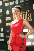 Meenakshi Dixit in Red One Shoulder Red Zipped up gown at IIFA Utsavam Awards016.JPG