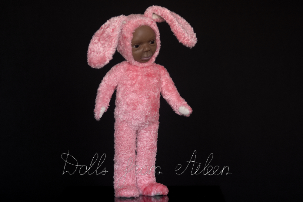 ooak Easter Bunny teddy doll, view from side
