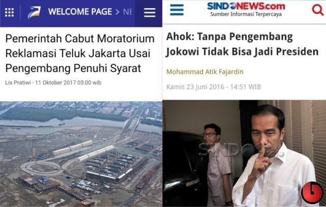 Ngototnya Reklamasi, Jadi Teringat Omongan Ahok: Tanpa Pengembang Jokowi Tak Bisa Jadi Presiden