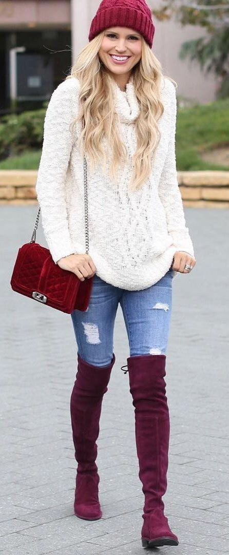 winter cozy outfit : red hat + white sweater + bag + rips + over the knee boots