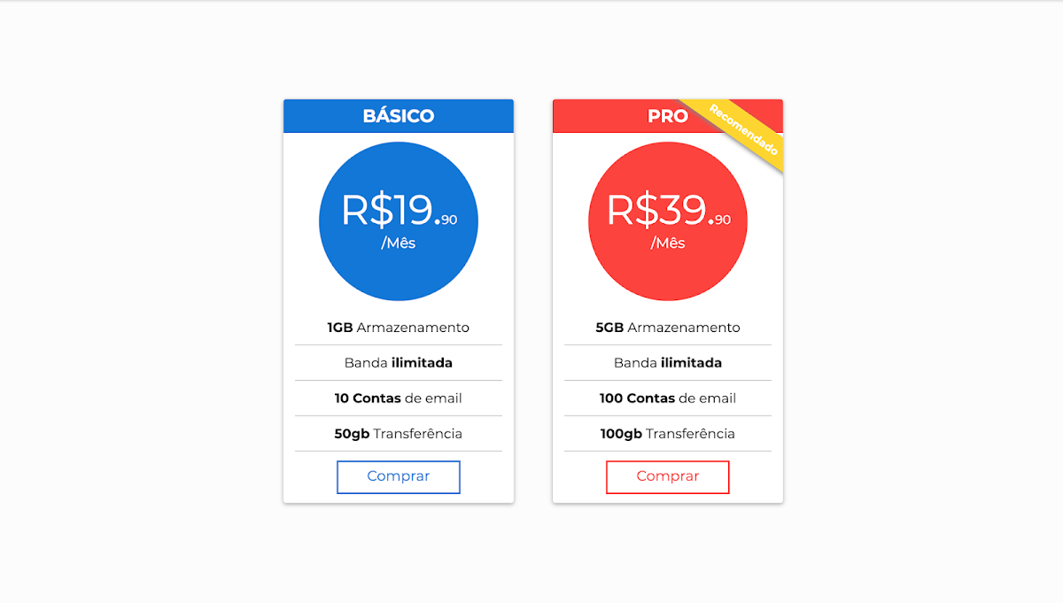 Material Design Responsive Pricing Tables