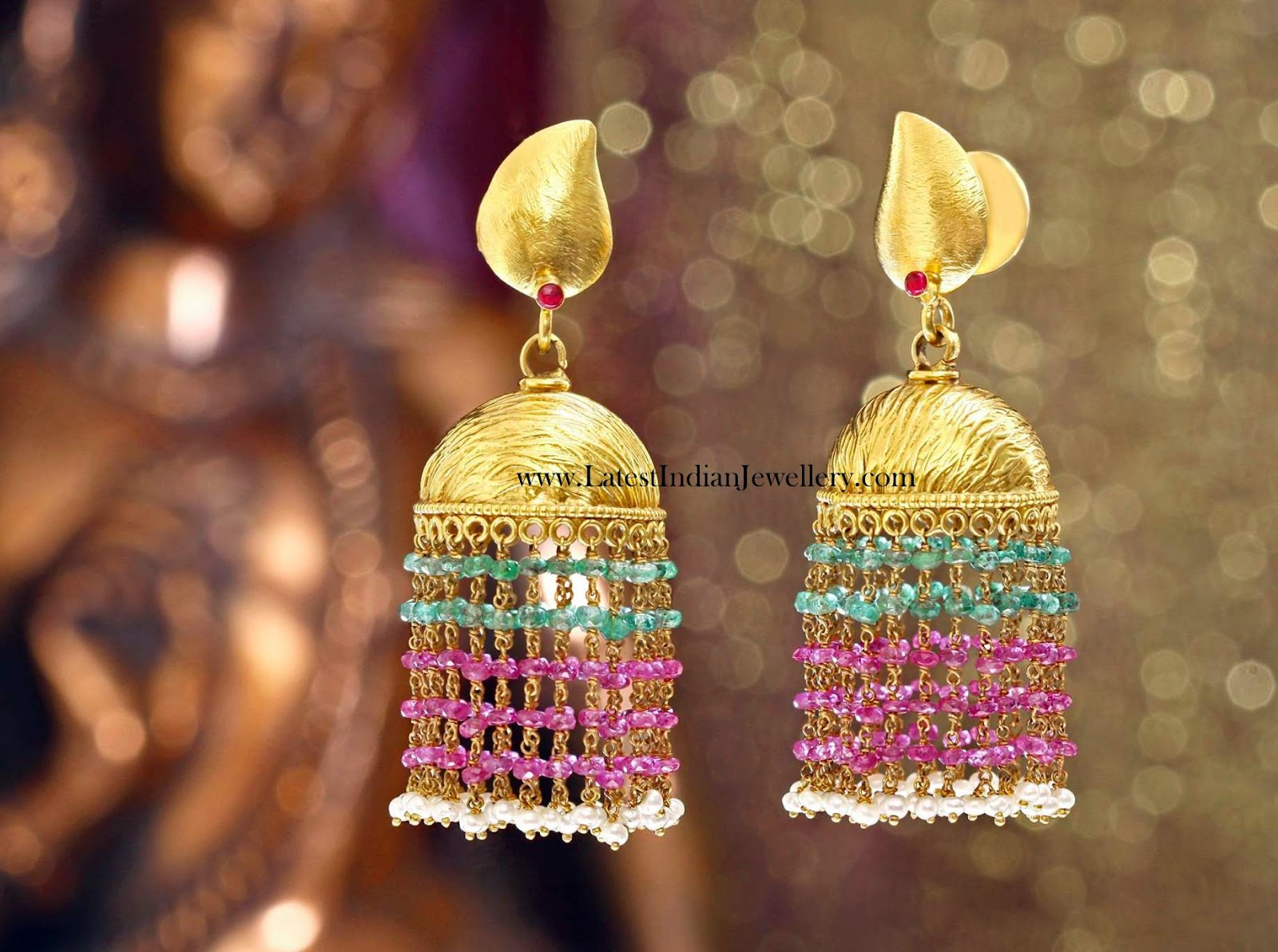 Light Weight Gold Jhumka Earrings