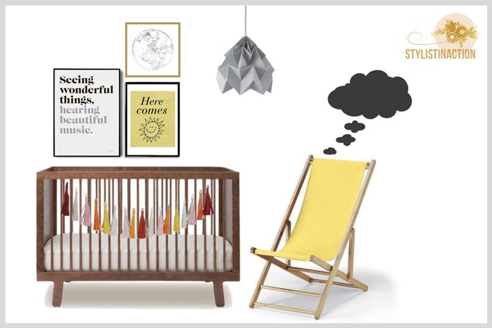 Ideas para cuartos de bebes no tradicionales en madera y amarillo
