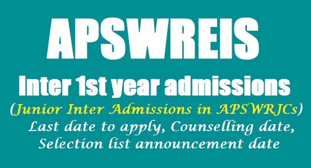APSwreis Inter 1st year admissions 2017 notification, Apply before May 15, Last date to apply, Results,selection list, Junior Inter admissions in APSWRJCs