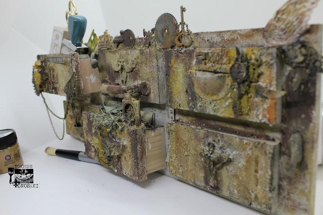 Mixed media faux vintage drawer by Phoebe Tonosaki