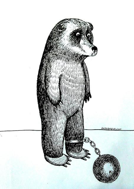 El oso, en un momento de sufrimiento