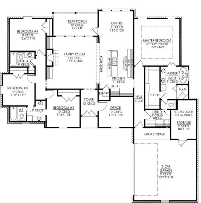 Modern 4 bedroom house plans decor units for 4 bedroom farmhouse plans