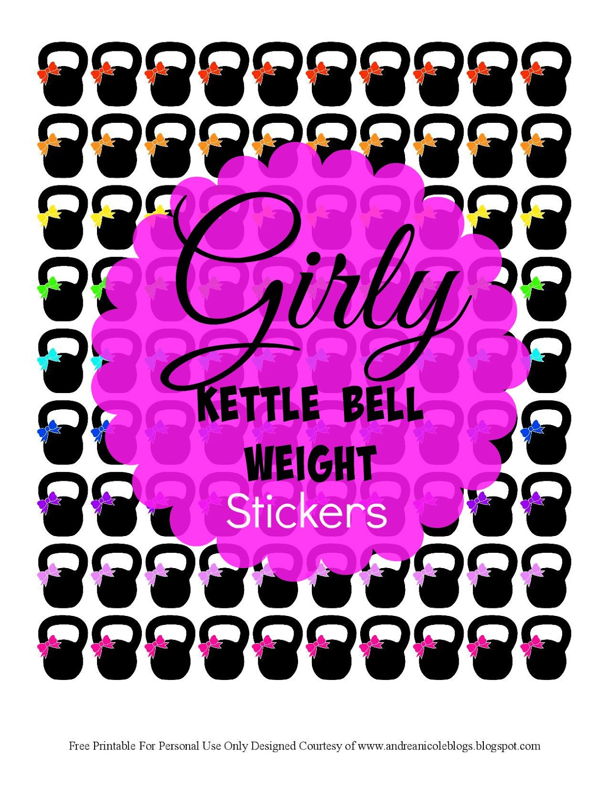 Andrea Nicole Free Printable Girly Fitness Kettle Bell