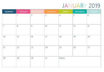 Free printable 2019 Monthly Calendar in two designs (Greek & English layouts) - Ioanna's Notebook
