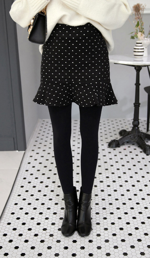 Dotted Ruffled Hem Mini Skirt