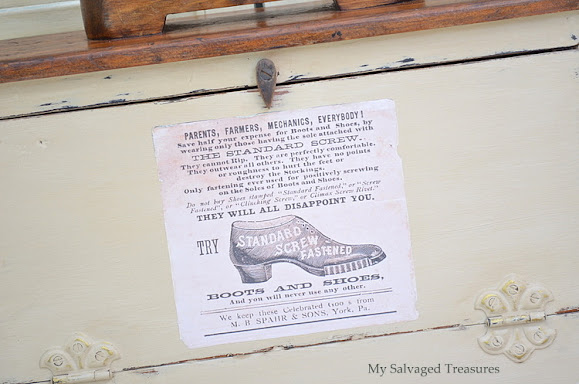 use a vintage style label to transform an old shoe shine box