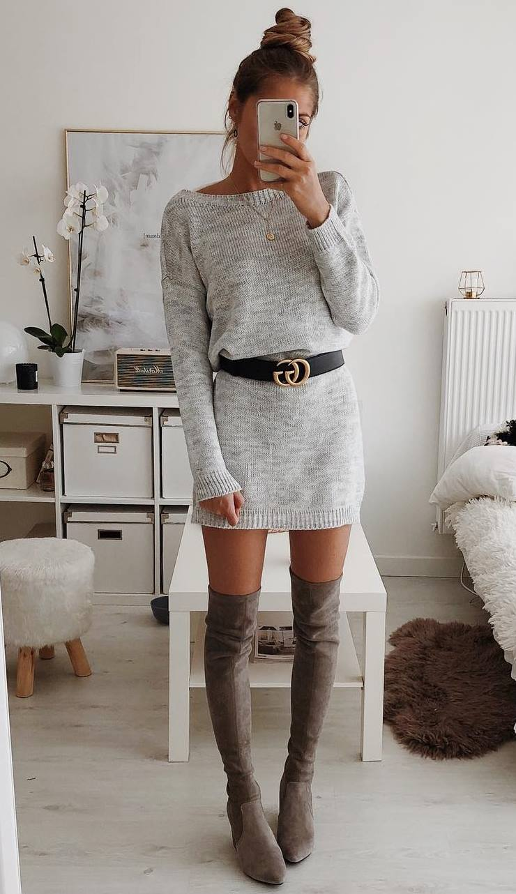 amazing fall outfit / grey sweater dress + over knee boots + belt