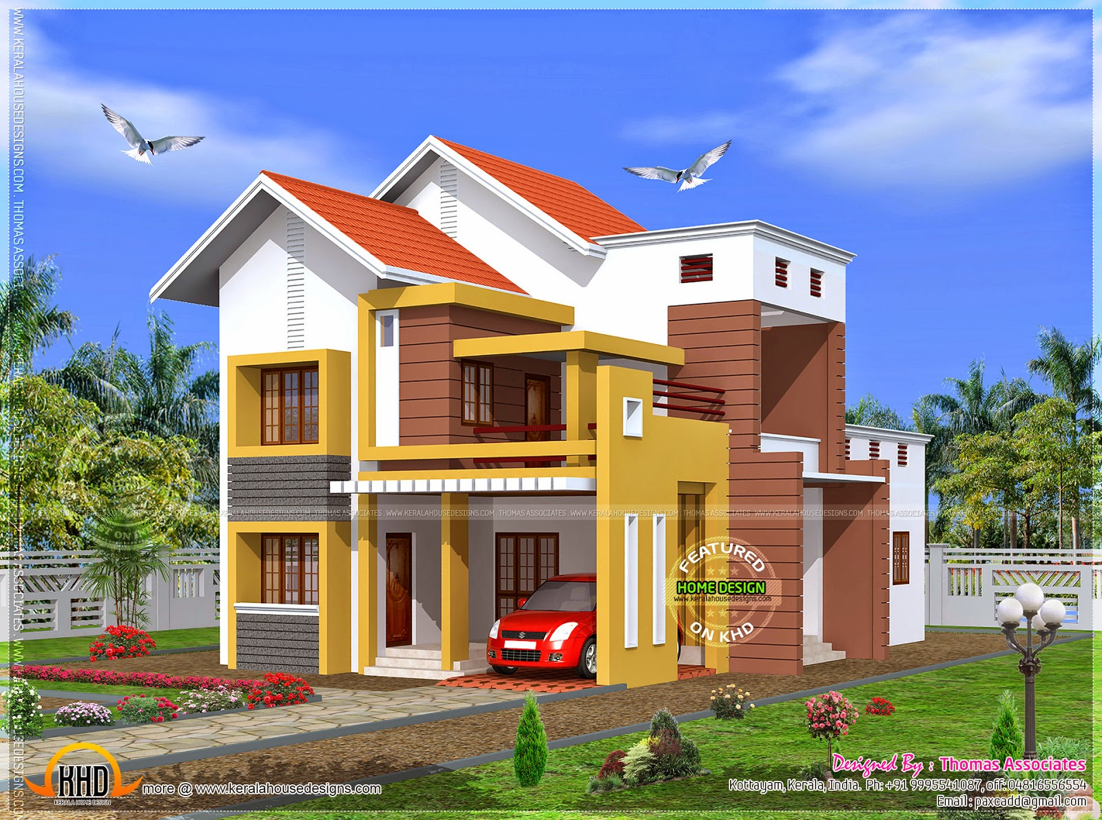 3 Bedroom House Design In 1850 Square Feet Home Kerala Plans