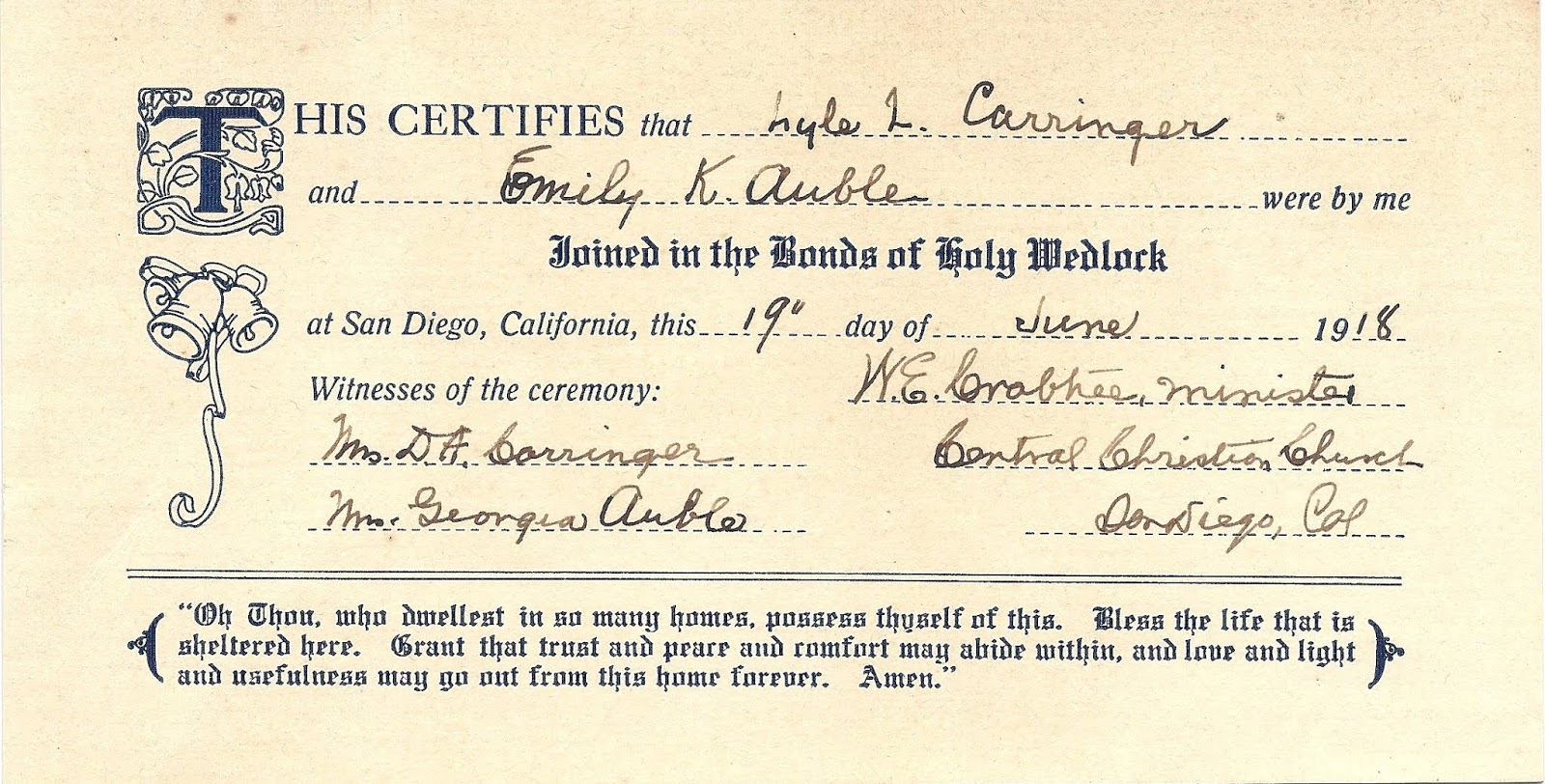 Genea Musings Treasure Chest Tuesday 1918 Marriage Certificate