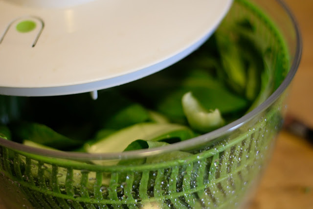 The cleaned box chop in the salad spinner.