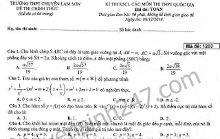 Đề thi thử THPT quốc gia môn toán chuyên Lam Sơn 2019