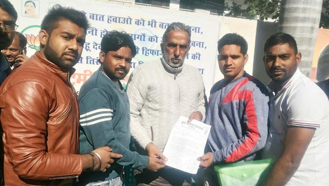 Yuva  Aagaj handed over memorandum to Union Minister of State, Krishnpal Gurjar