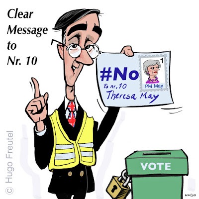 Jacob Rees-Mogg in yellow vest voting with a letter to Theresa May: No Confidence