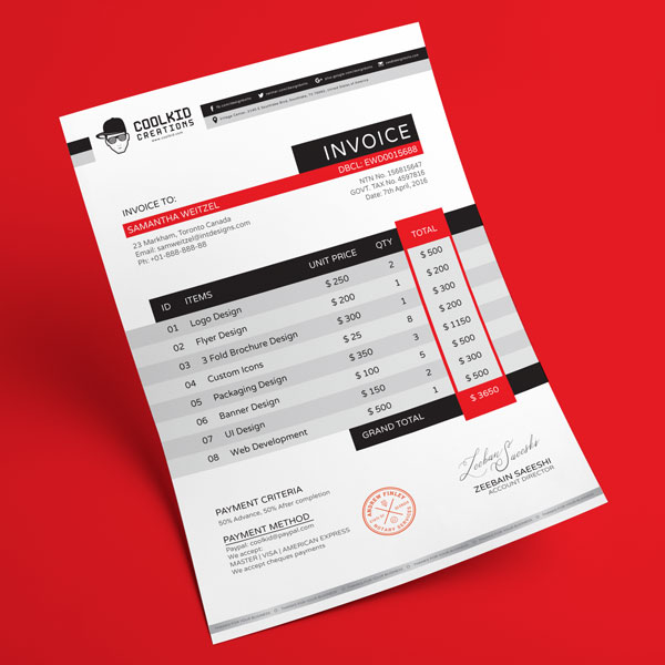 Template Invoice Gratis - Free Professional Business Invoice Design Template in Ai & EPS
