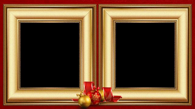 Natal - Moldura Douradas sob Red 50 - 2 fotos