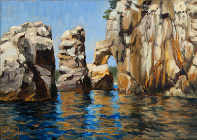 oil painting of Owl's Head rock formation on the South Shore of Nova Scotia, © Shannon Reynolds