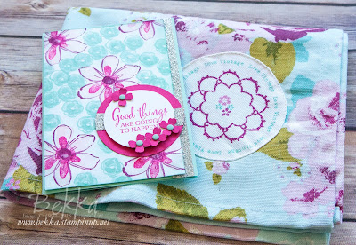 Vintage Style Tea Towel Inspired Floral Card - get the details here
