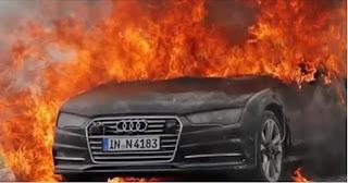 شاهد  بالفيديو  النيران تلتهم اودي A7 الجديدة اثناء اختبارها