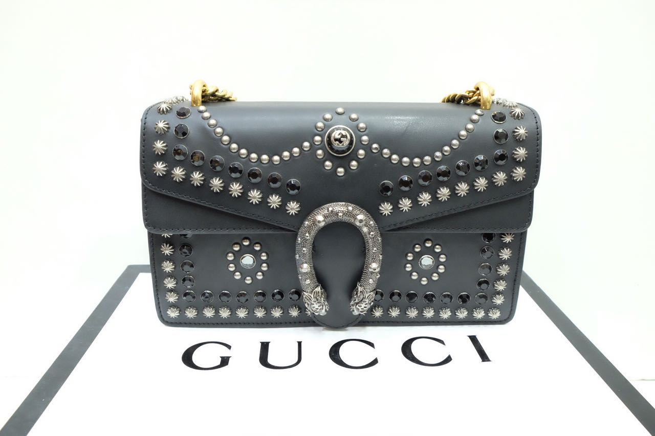Kinda Kollection  Gucci Dionysus Medium Studs Limited Edition Box Leather  With Gold Vintage Chain Mirror Original Leather Bag 5f89d649c4