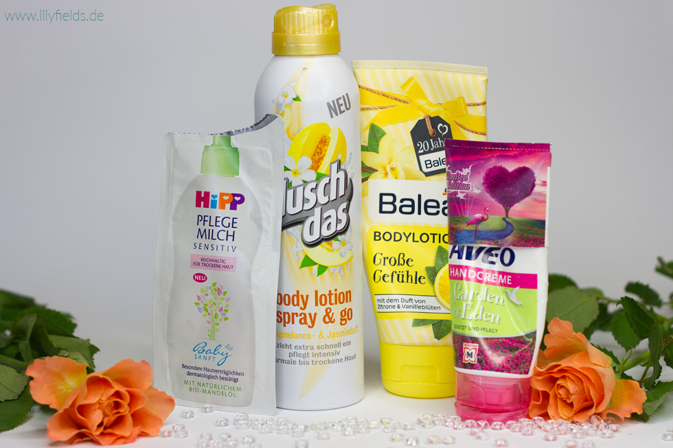 Foto verschiedener Bodylotions  Dusch Day Body Lotion Spray, Balea Bodylotion, Hipp Pflegemilch