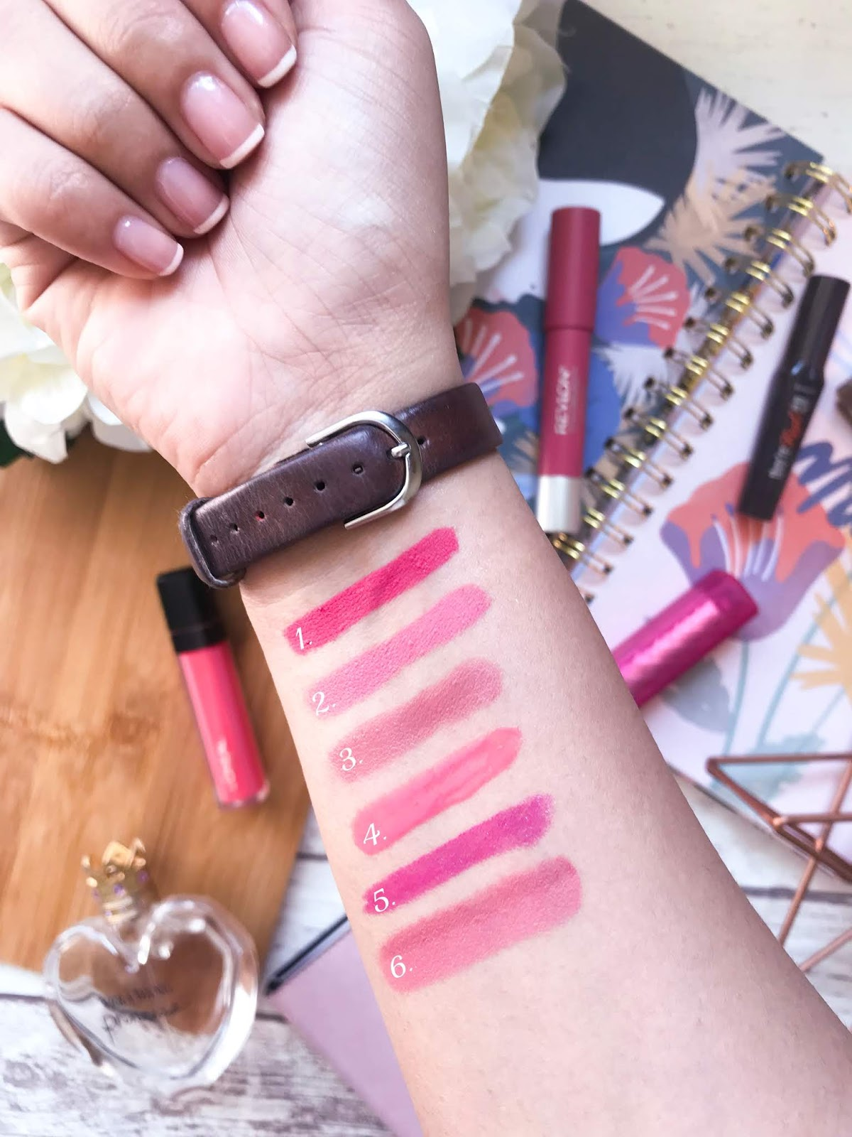 pink lipstick swatches