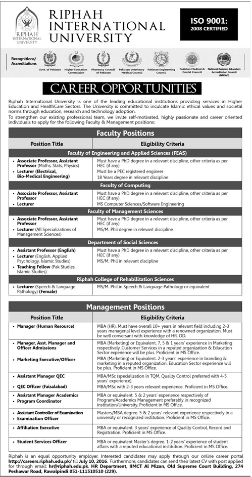 Teaching & Admin Jobs in Riphah International University Rawalpindi Jobs 2016