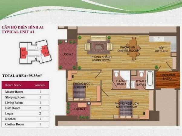 căn hộ A1 ( 98,35m2 ) chung cư Hà Đô Park View Dịch Vọng