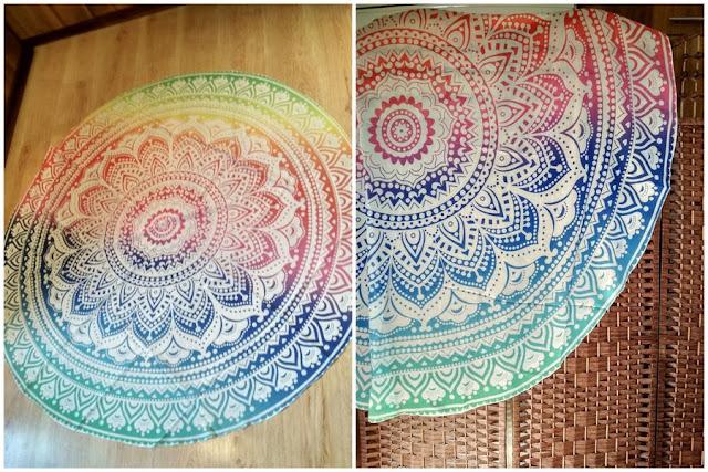 Okrągła narzutka plażowa z motywem Mandala Chiffon