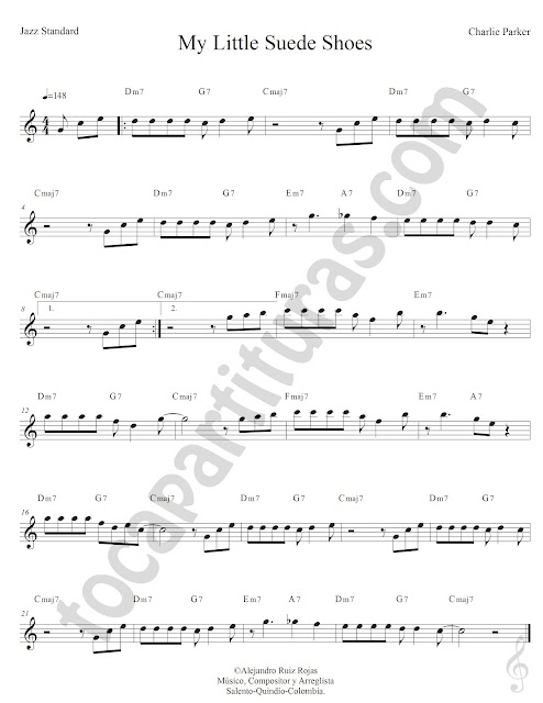 My Little Suede Shoes de Cherlie Parker Partiura Fácil con Acordes Caravan Easy Sheet Music with Chords
