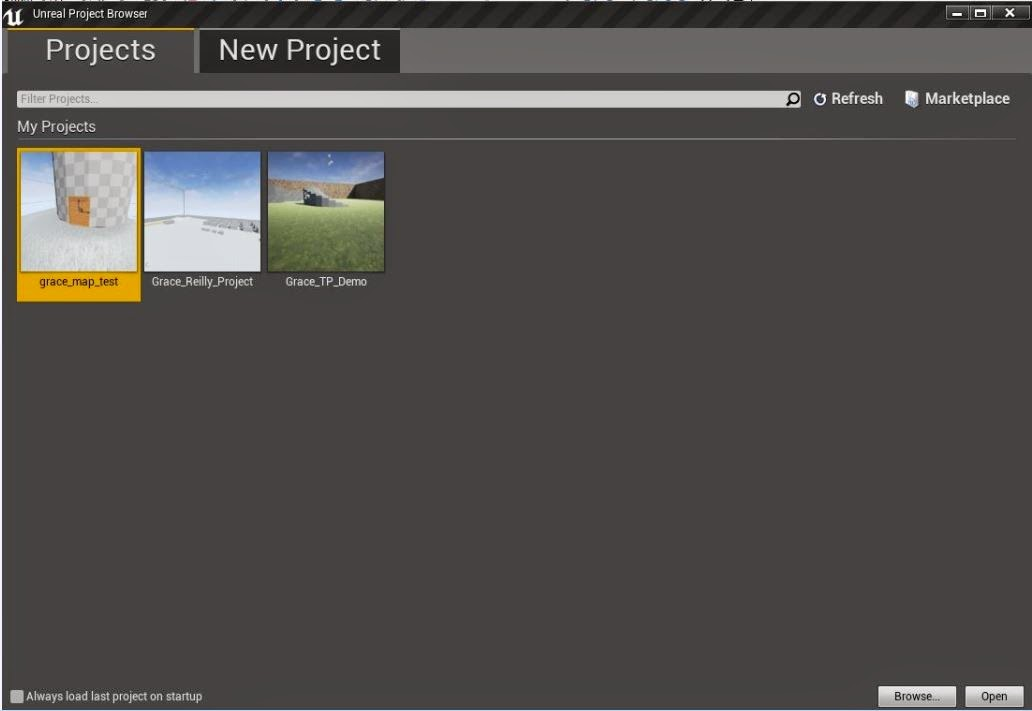 Unreal project browser.