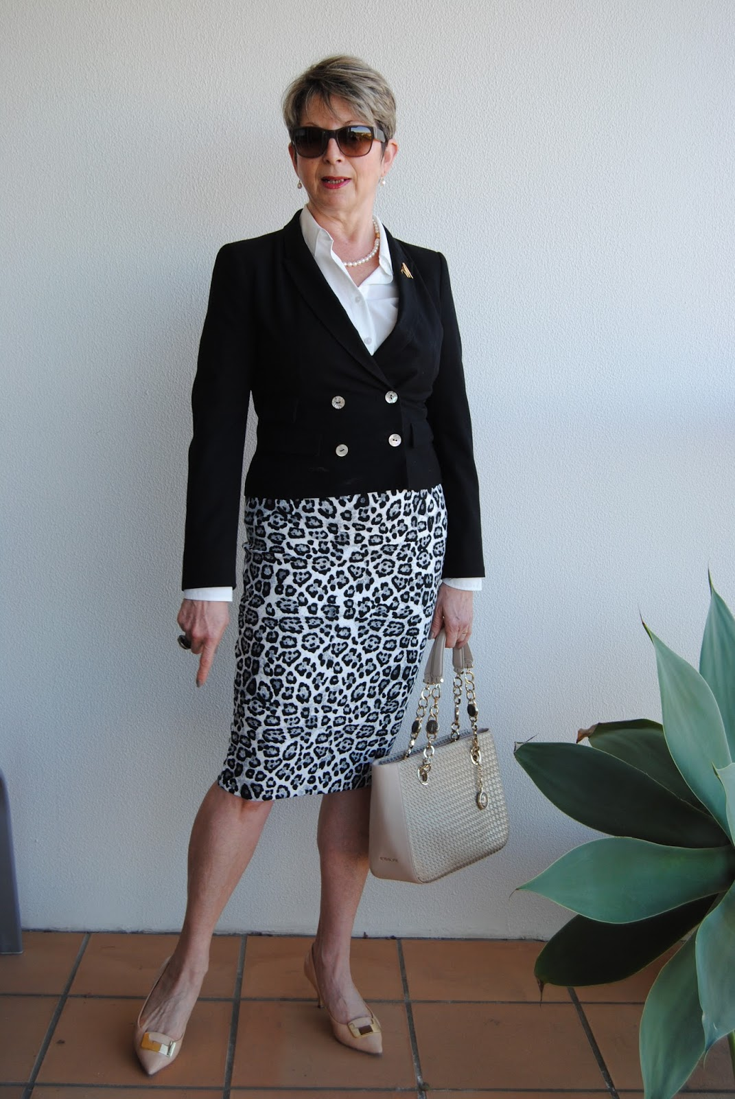 looking fabulous @ fifty: animal print pencil skirt|white shirt