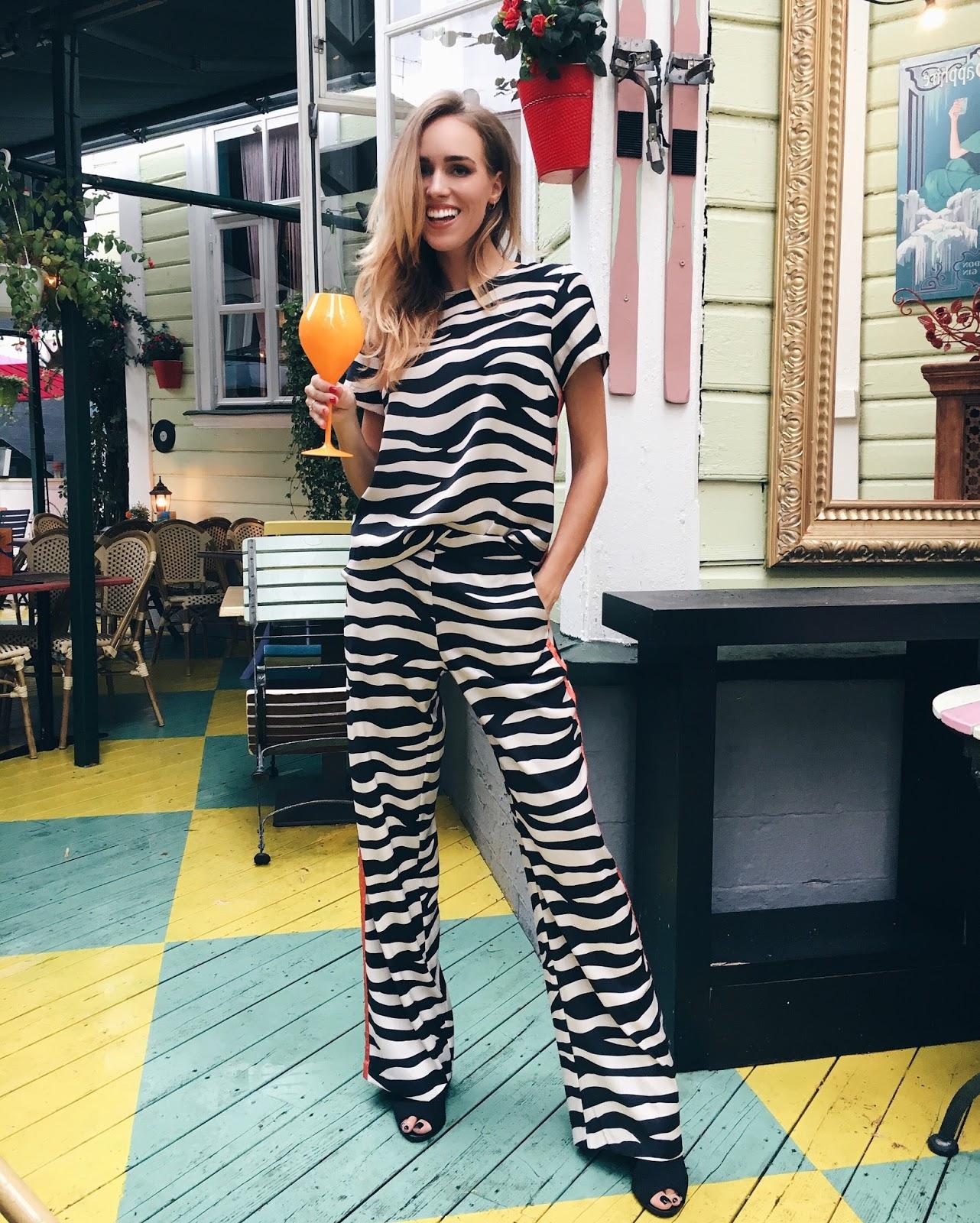 kristjaana zebra print pyjama set outfit