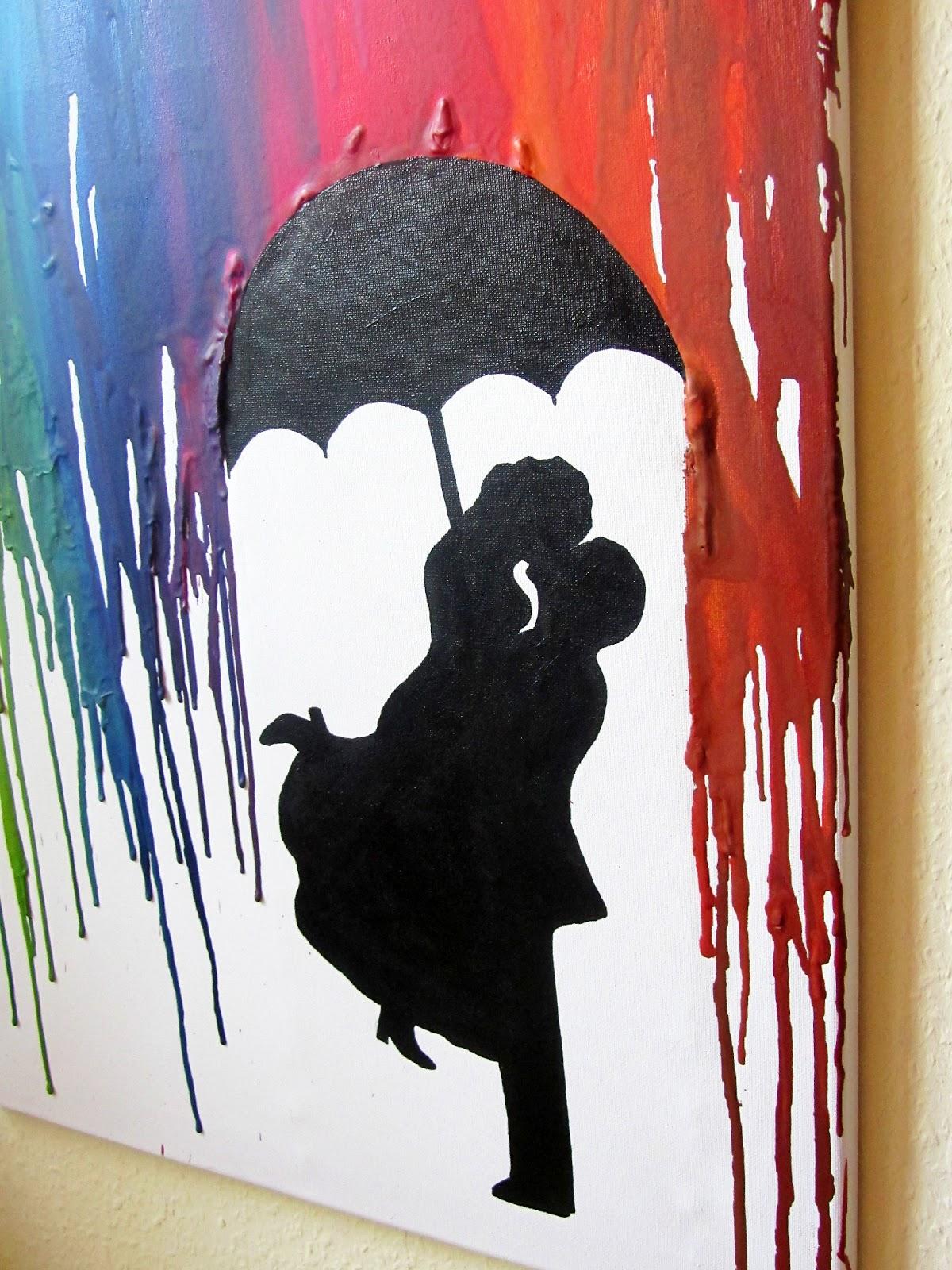 Kreativ Oder Primitiv Crayon Art Parchen Im Regen