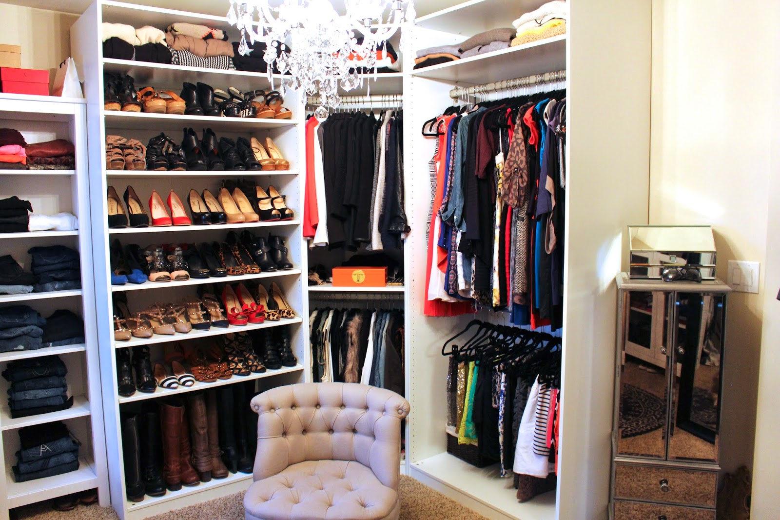 molding ideas around attic wall - TiffanyD Updated Closet and Makeup ing Area Tour