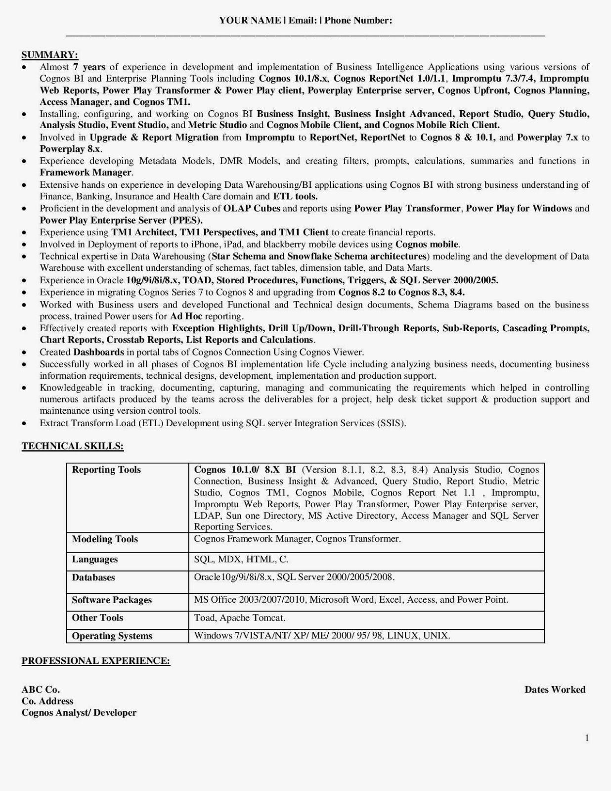 informatica sample resume india