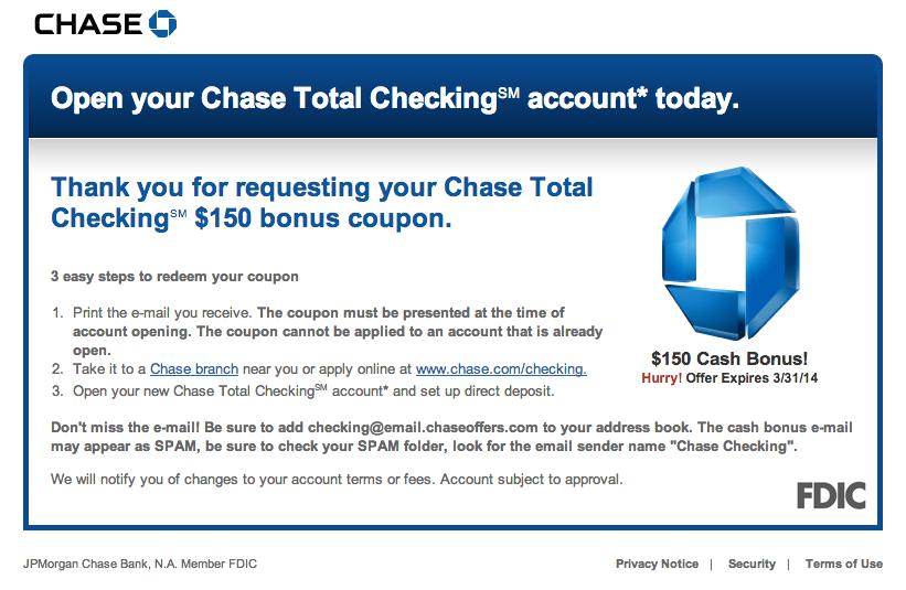 Green Espirit: Chase $125, $150, $200 Checking Bonus