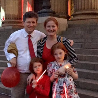 Victoria and family at Light it Red 2015