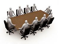 Bir toplantı masası etrafındaki koltuklarda oturan 3D adamlar