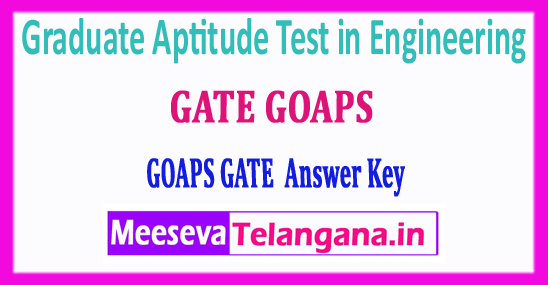 GATE GOAPS 2018 Answer Key Graduate Aptitude Test in Engineering Answer Key Download