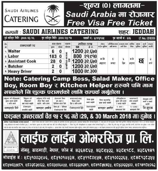 Free Visa Free Ticket jobs in Saudi Arabia for Nepali, Salary Rs 49,300