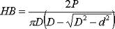 Fórmula matemática que permite o cálculo da dureza HB