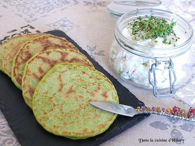 Pancakes aux petits pois et sa tartinade printanière de chèvre - Dans la cuisine d'Hilary