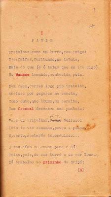 """Original de poema de autoria de Guilherme Santos Neves em """"Cantáridas e outros poemas fesceninos""""."""